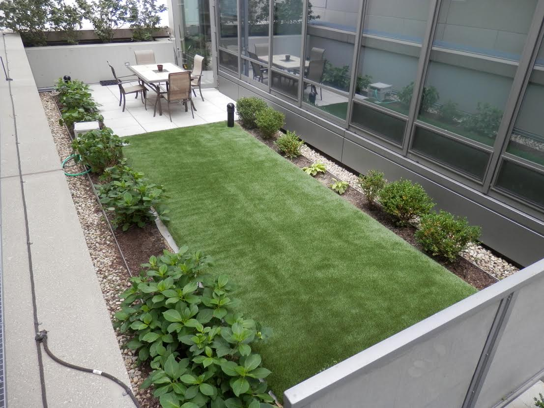 Artificial grass patio installation at Chicago corporate building